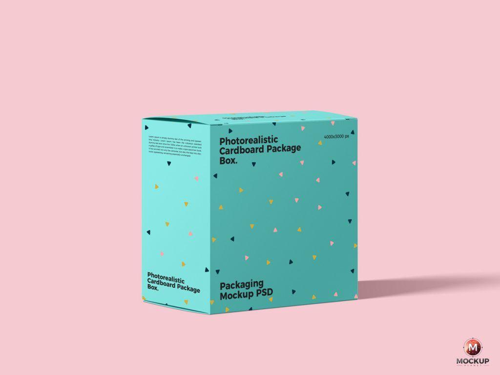 Download Free Photorealistic Cardboard Package Box Mockup Psd Mockup Planet In 2020 Box Mockup Cardboard Packaging Box Packaging