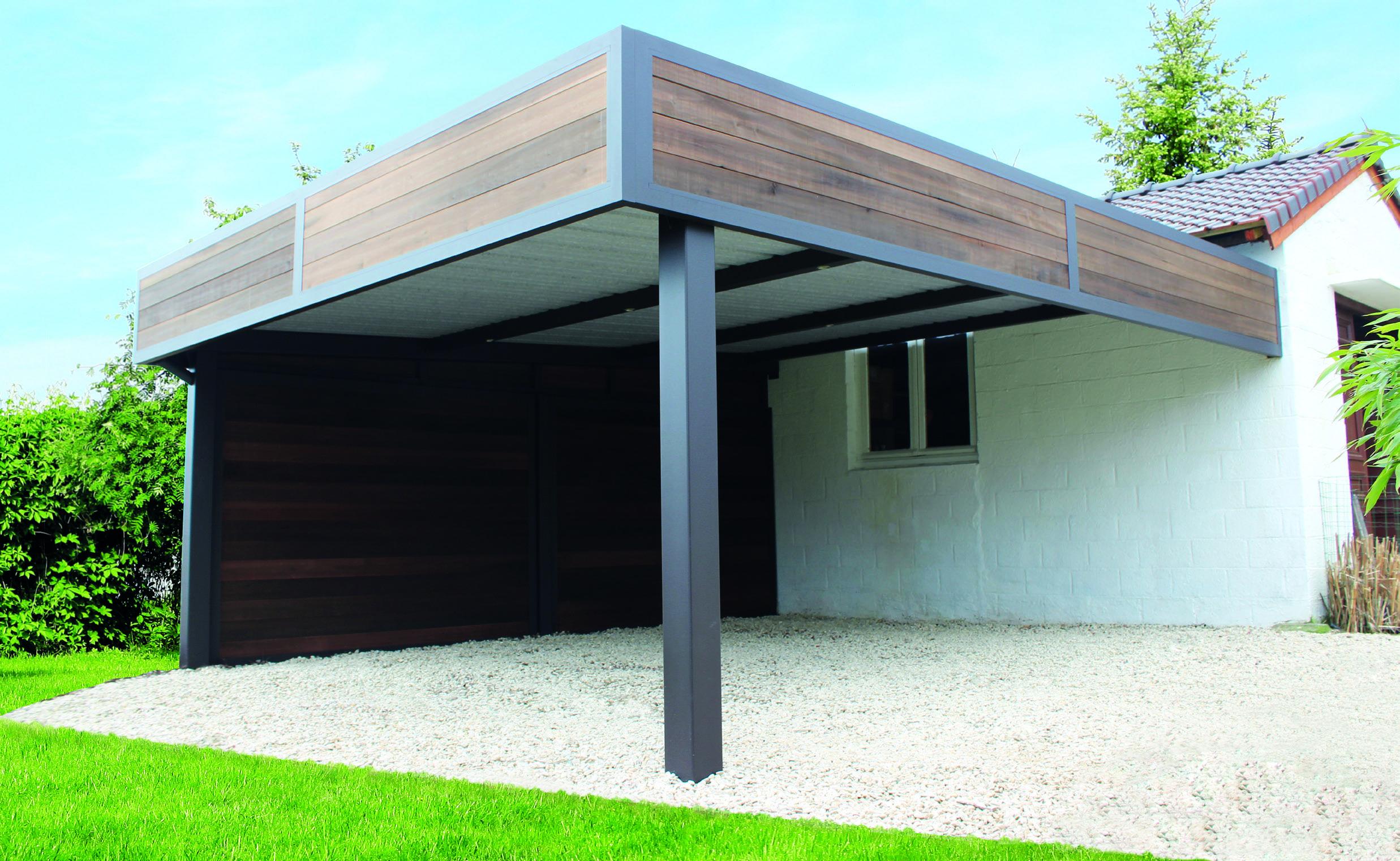 Carport, abri, adossé en finition bandeau cadre aluminium