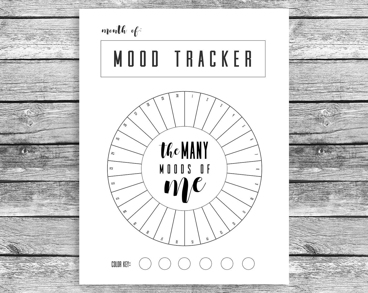 Monthly Mood Tracker Circle Bullet Journal A Journal Mood