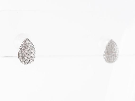 Pave Diamond Cluster Earrings in 18k White Gold