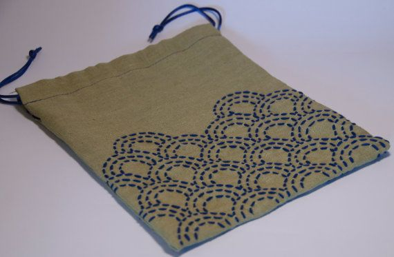 Rustic Linen Drawstring Bag With Sashiko by AtelierWeasel on Etsy, $20.00