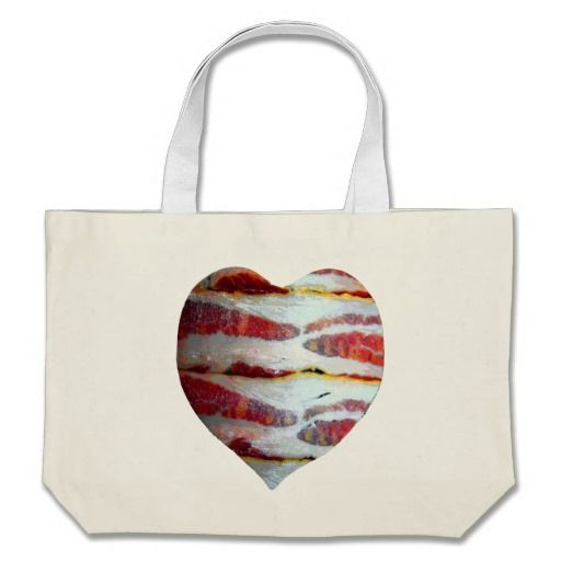 Bacon Love Heart Canvas Bag