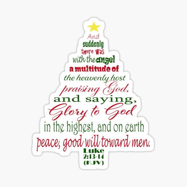 Christmas Tree Word Art Design Featuring Luke 2 13 14 Sticker By Purposelydesign In 2020 Word Art Design Word Art Art Design