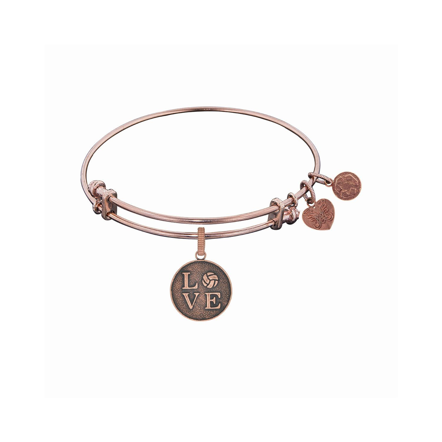 Love Volleyball Bangle | Angelica Collection #PGEL1266 (Pink Tone) $25.00 This adjustable bracelet is the perfect gift for the #VolleyballMOM or the #VolleyballSuperstar!  Available at ANDREW GALLAGHER JEWELERS, NEWARK, DELAWARE (302) 368-3380