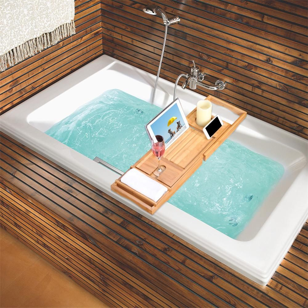 Natural Bamboo Bathtub Caddy Tray Organizer | Bathtub caddy ...