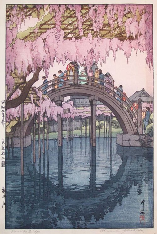Ukiyo-e. A footbridge in the spring