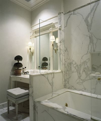 Pony Wall At End Of Tub Glass On Top Small Shelf On