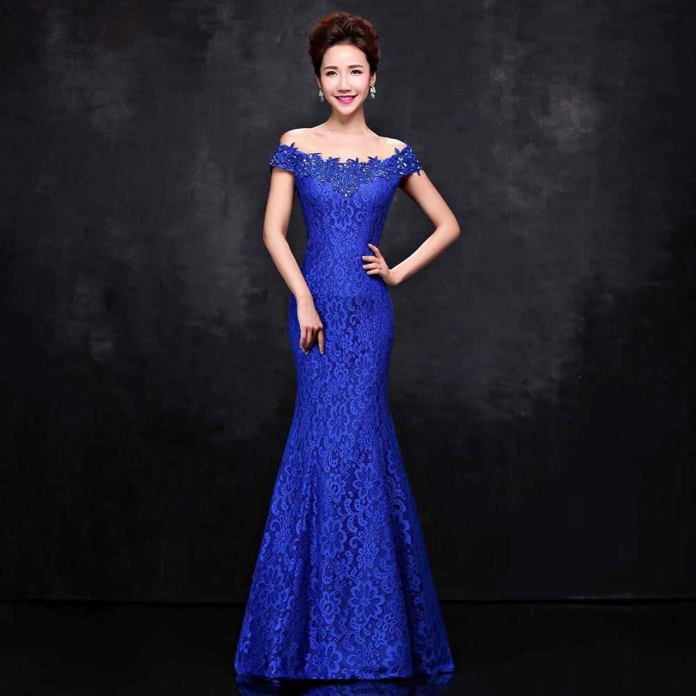 new elegant off the shoulder long mermaid evening dress