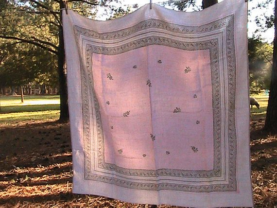 Vintage Linen Table Cloth - Square 48 x 48 -  Pink/Almost White/Light Brown -