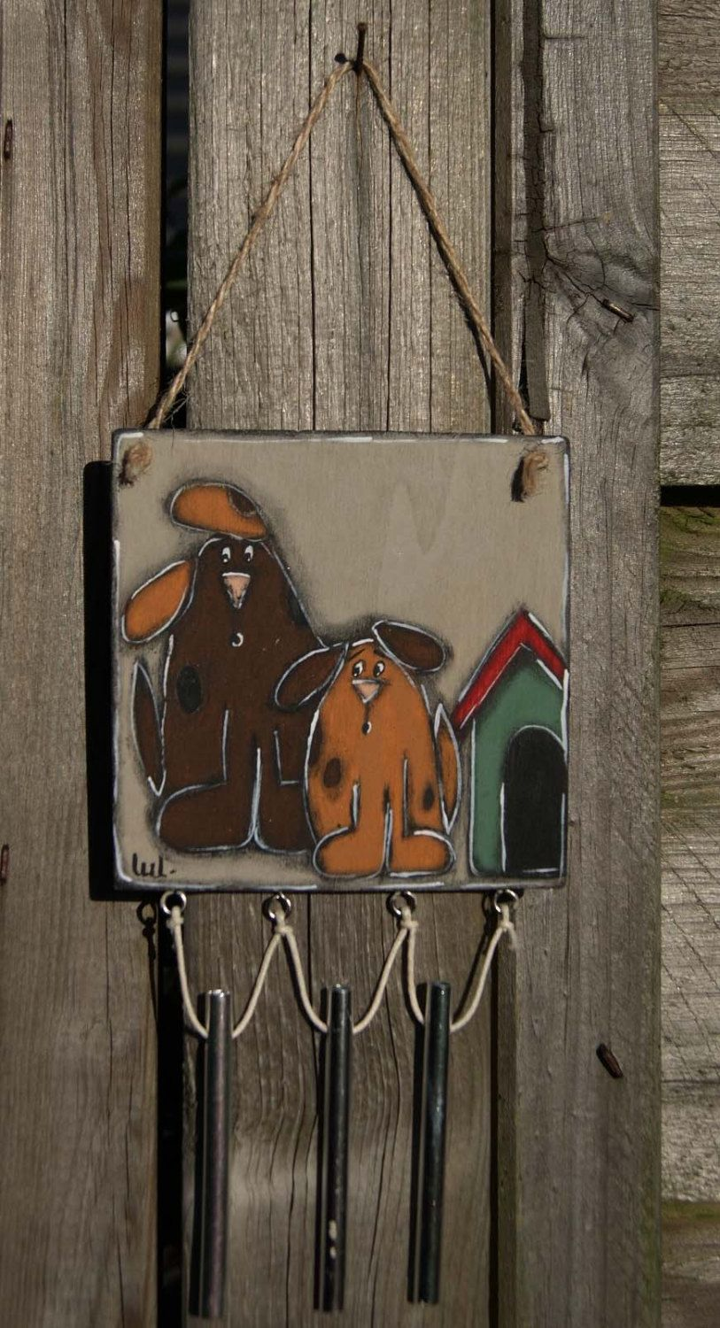 Dogs wind chime two brown dogs painted door hanger wind chime