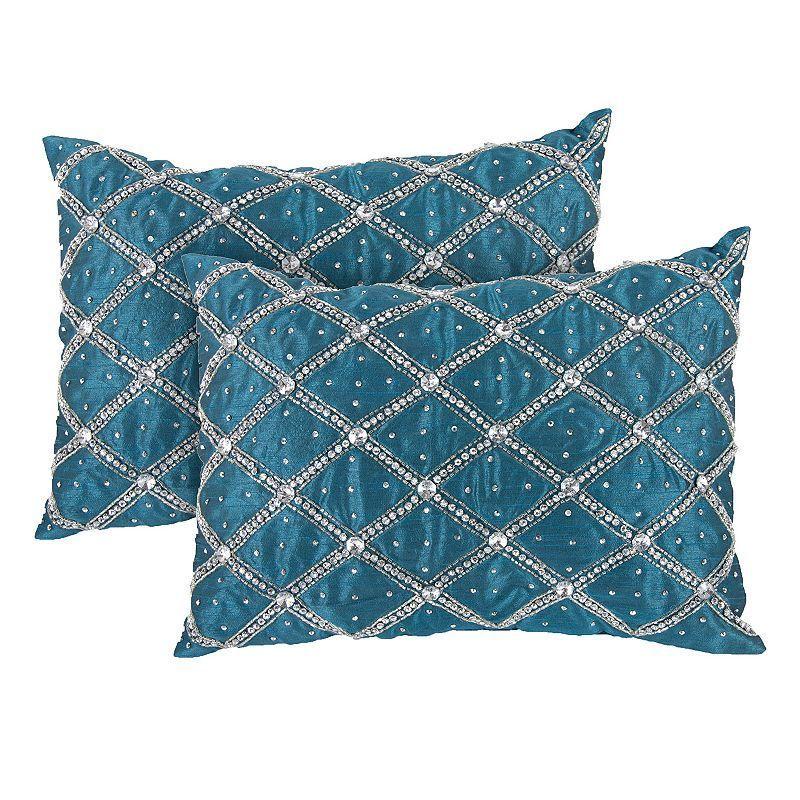 40piece Jeweled Throw Pillow Set Blue Throw Pillow Sets Throw Best Jeweled Decorative Pillows