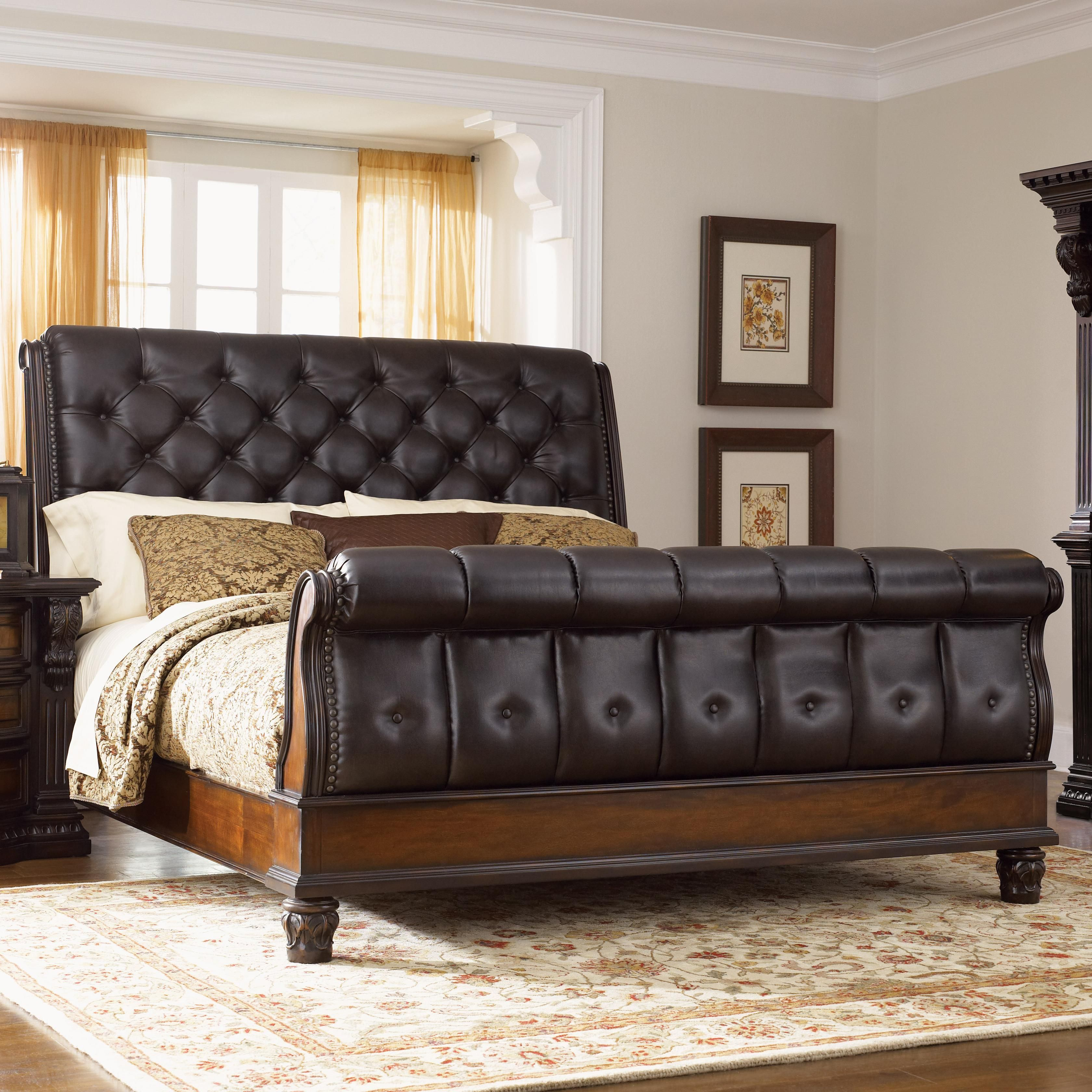 Grand Estates Queen Sleigh Bed W Leather Upholstery By Fairmont