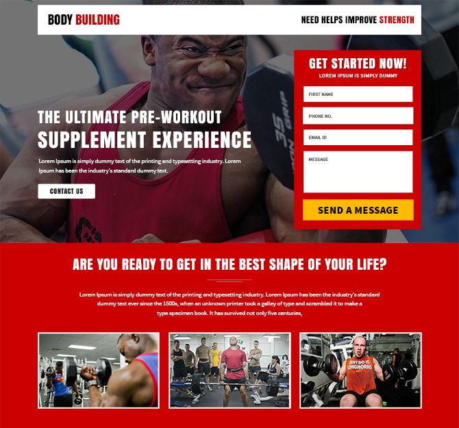 Best Body Building Fitness Landing Page Design Buy Landing Pages - Sample landing page template