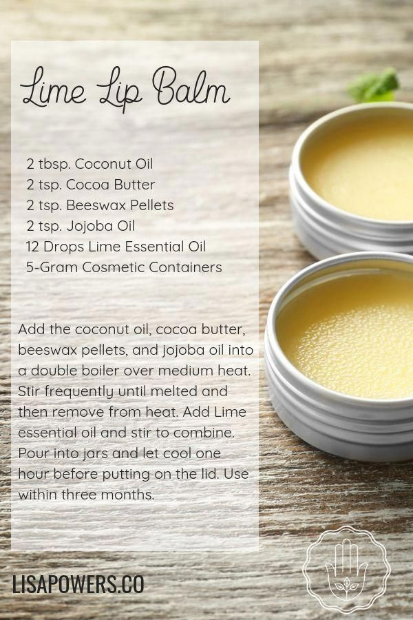 Easy DIY recipe for Lime lip balm. Create your own natural, organic lip balm using Lime essential oil, coconut oil, cocoa butter, beeswax, and jojoba oil. Natural, safe skin care and aromatherapy! #lisapowers #skincare #naturalbeauty #diylipbalm #essentialoils #doterra #limeessentialoils