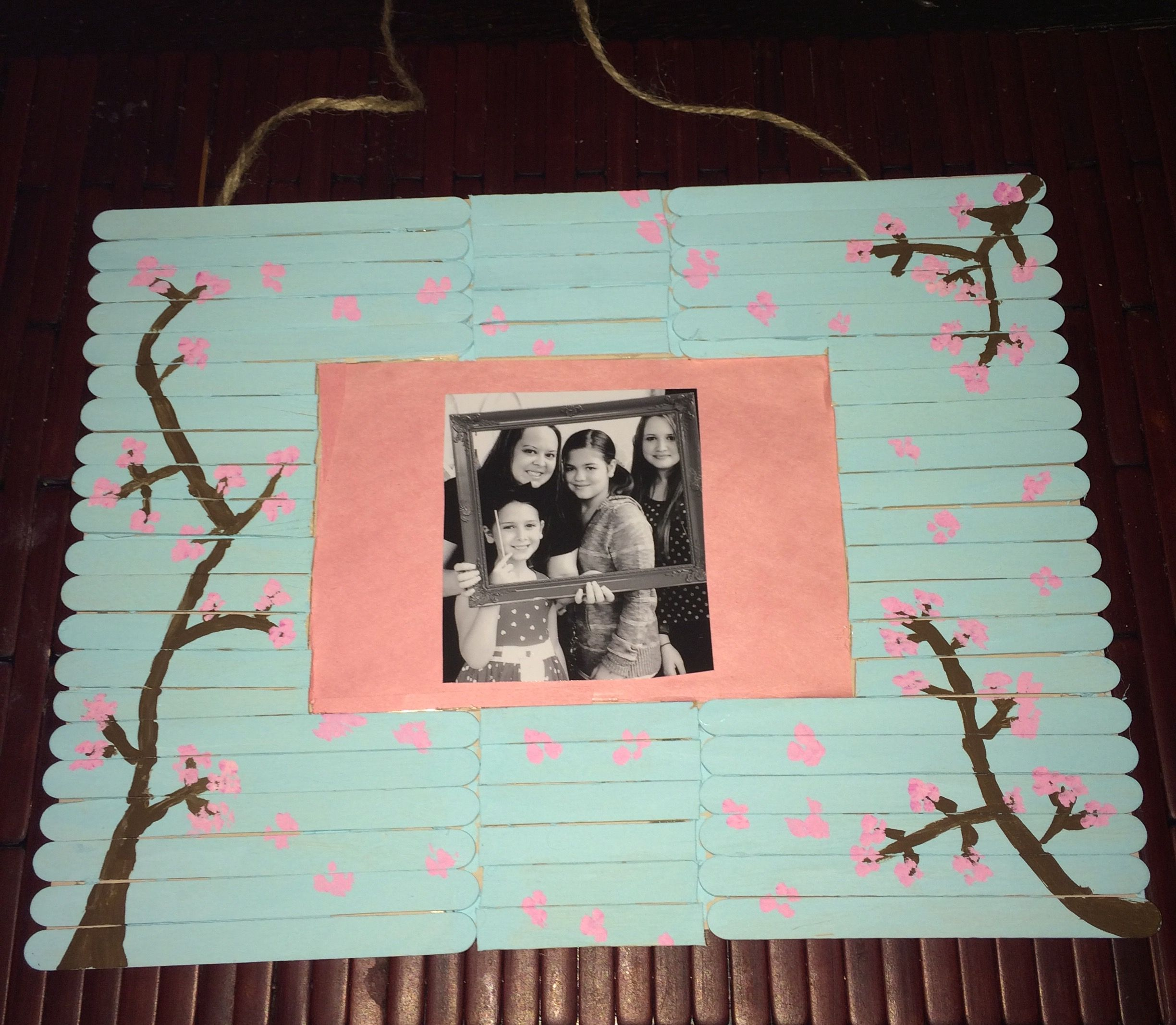 Popsicle Stick Hanging Photo Frame
