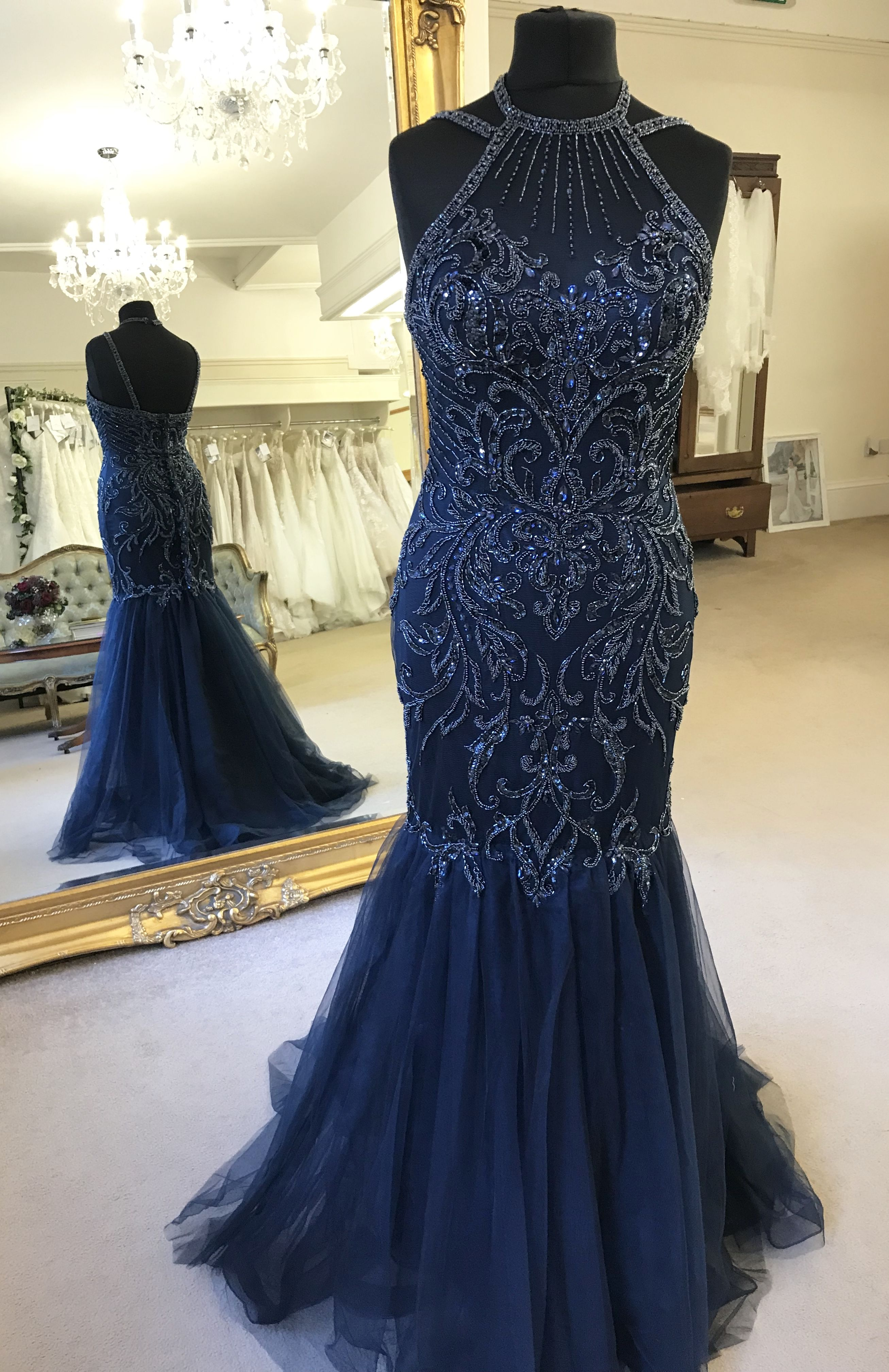 Strike a pose with our stunning beaded fishtail prom or evening gown ...