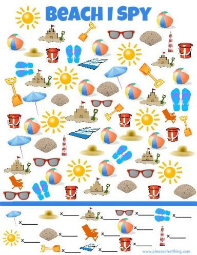 Beach I Spy Game - free printable search and find game for kids! Print one out…