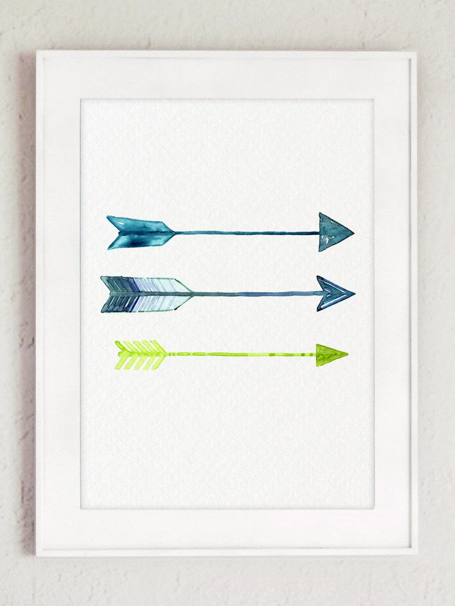 Arrows Home Decor Blue Lime Green Watercolor Painting