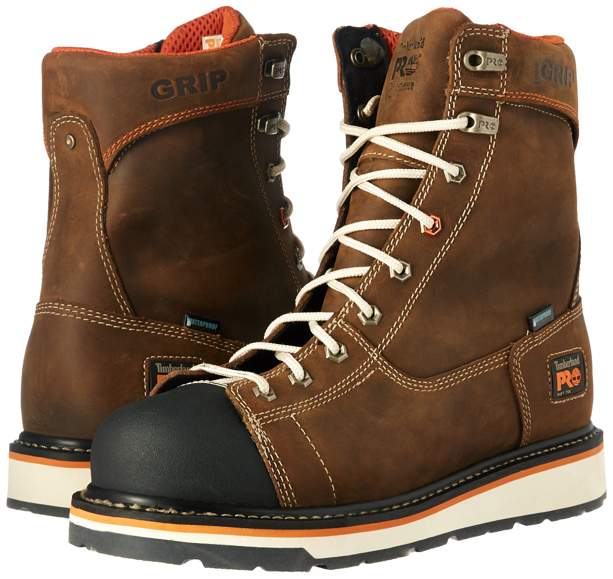 Timberland PRO Mens Gridworks 8 Soft Toe Waterproof Industrial and  Construction Shoe Brown Full Grain Leather 14 M US ** To view further for  this item, ...