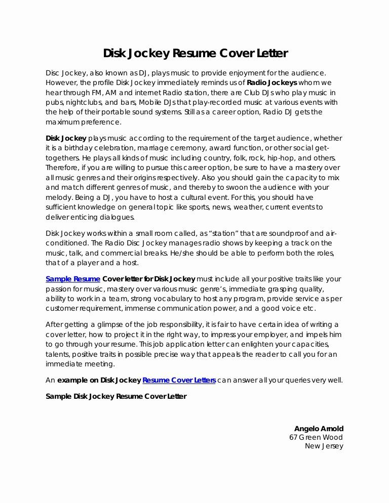 Host Job Description For Resume Luxury Disk Jockey Resume Cover Letter In 2021 Cover Letter For Resume Sample Resume Cover Letter Job Cover Letter