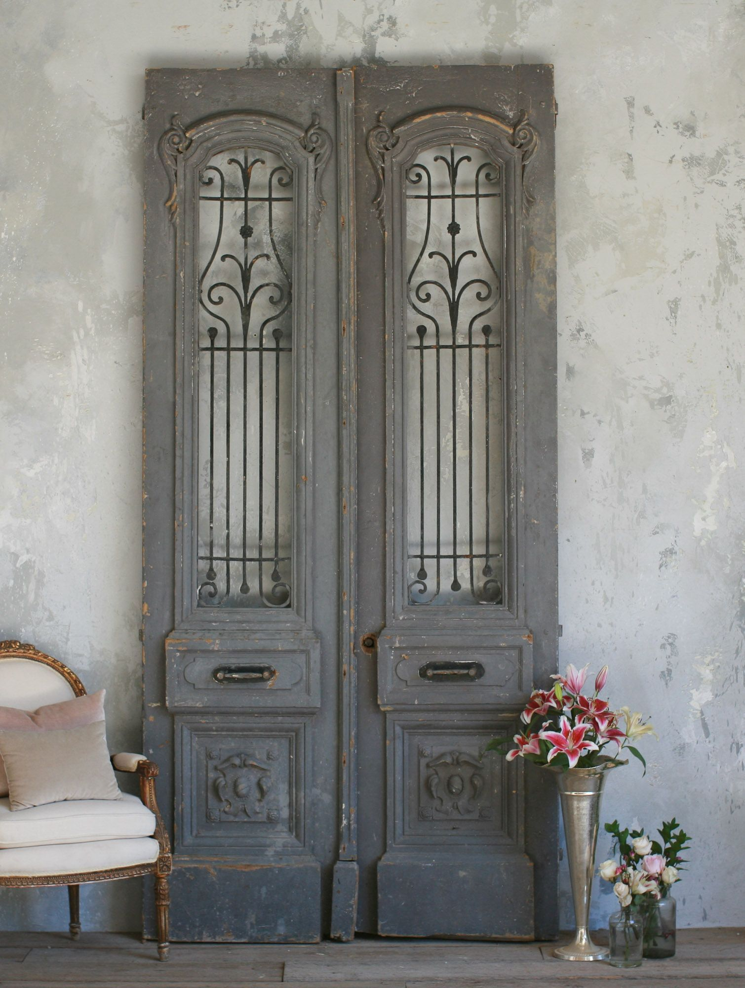 Vintage Large Scale Pair Of Vintage Doors In Blue Grey C 1940 The Bella Cottage Vintage Doors Antique Doors Beautiful Doors