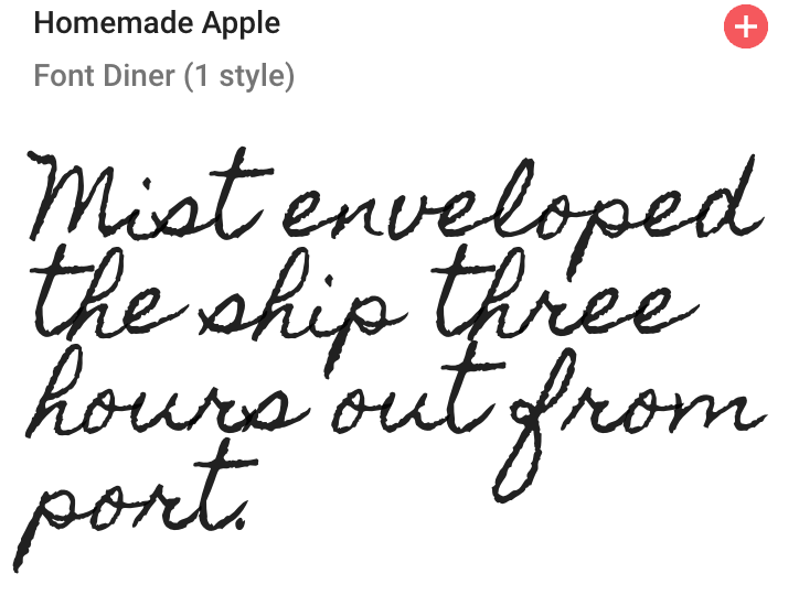 Homemade Apple Font from Google fonts | Website Moodboard