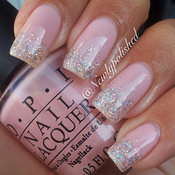 Instagram Photo By Newlypolished Nail Nails Nailart Pink Sparkle Nailsglitter French Manicuresilver