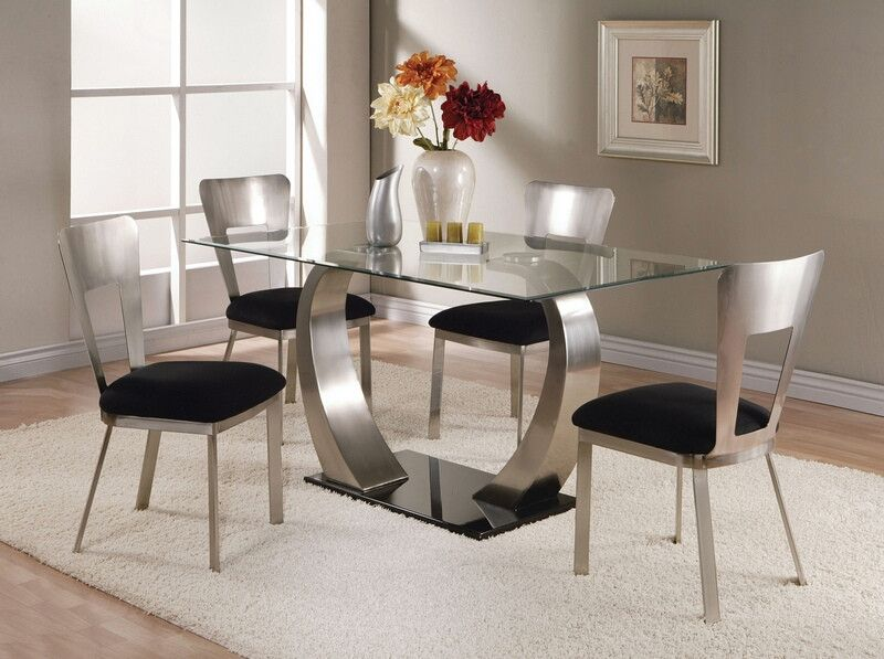 Acme 10090 93 5 Pc Camille Satin Metal Arched Base Rectangular Glass Top Dining Table Set Square Glass Dining Room Table Modern Dining Room Glass Dining Table Set
