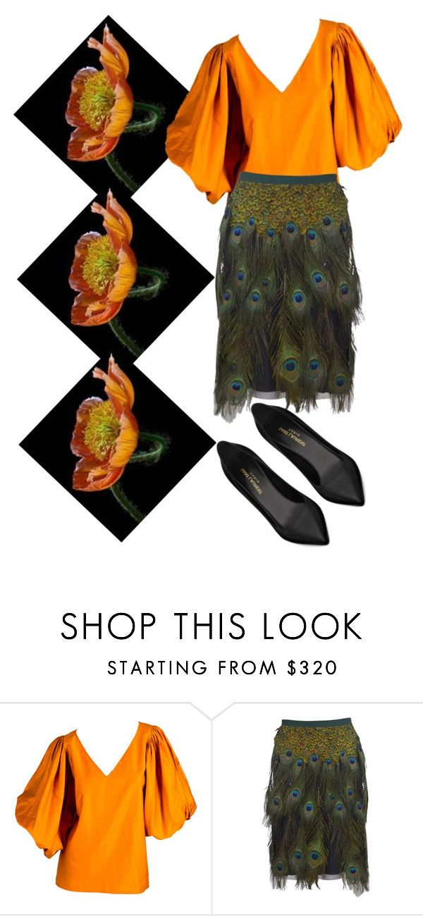 """""""Masters of Mimicry: Poppies"""" by beetlescarab ❤ liked on Polyvore featuring Yves Saint Laurent, Prada, saintlaurent, poppy and mimicry"""