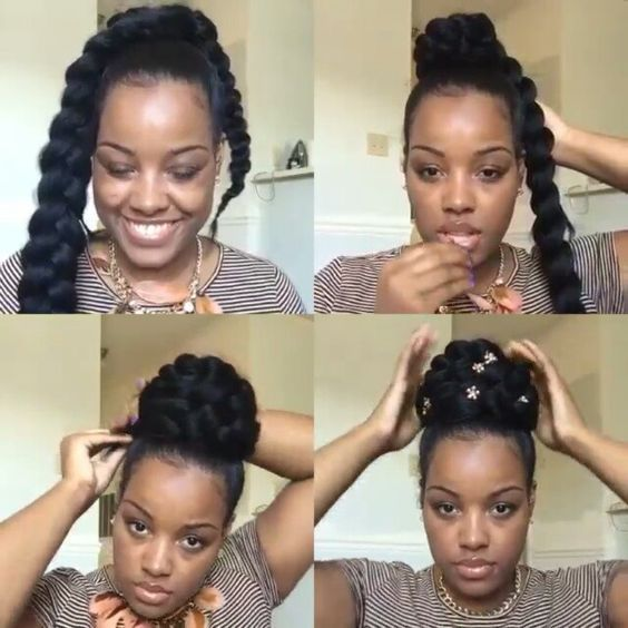 Loving This Braided Bun Style Amber Belovely Created Getthelook With Hair Milk Leave In Moisturizer And Kee Hair Milk Natural Hair Updo Natural Hair Styles