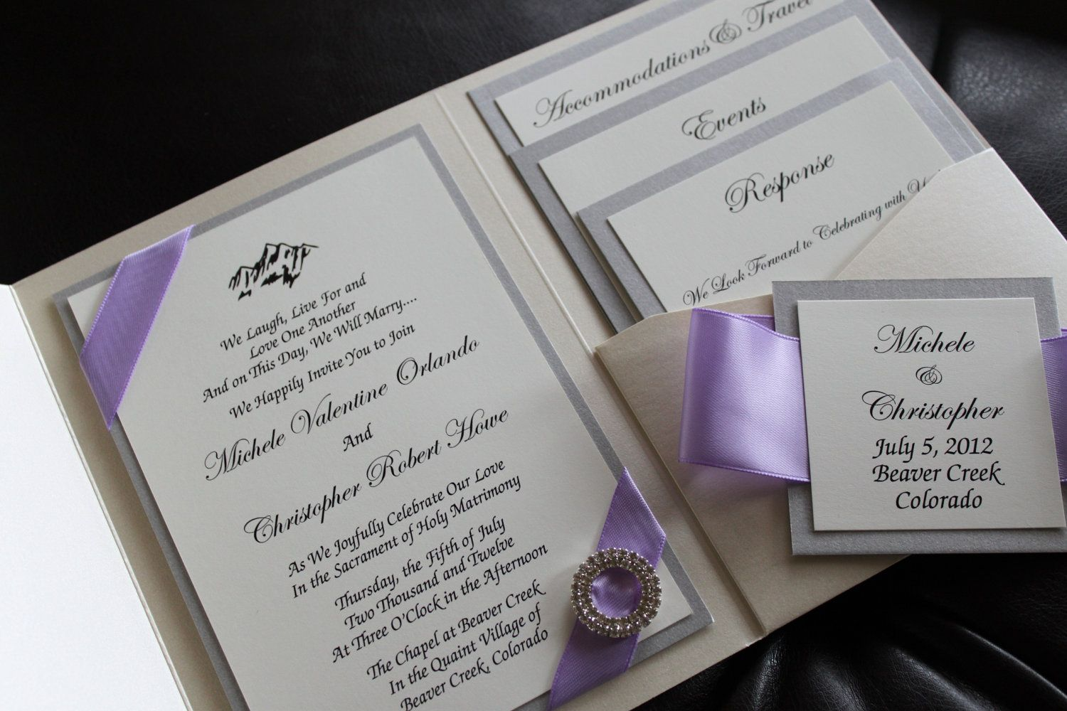 opulence pocket wedding invitation in lilac and silver shimmer paper brooch lilac satin ribbon - Wedding Invitations With Pockets