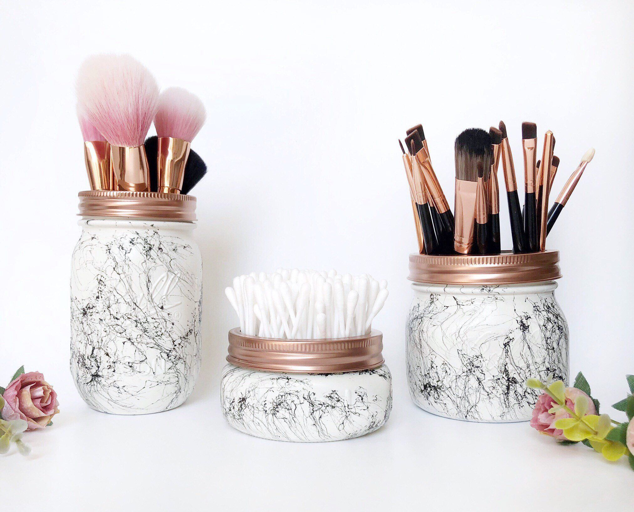 Makeup storage Rose Gold Marble Makeup Brush Holder