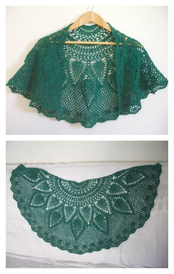 Pineapple Peacock Shawl Free Crochet Pattern | Tücher, Tuch stricken ...