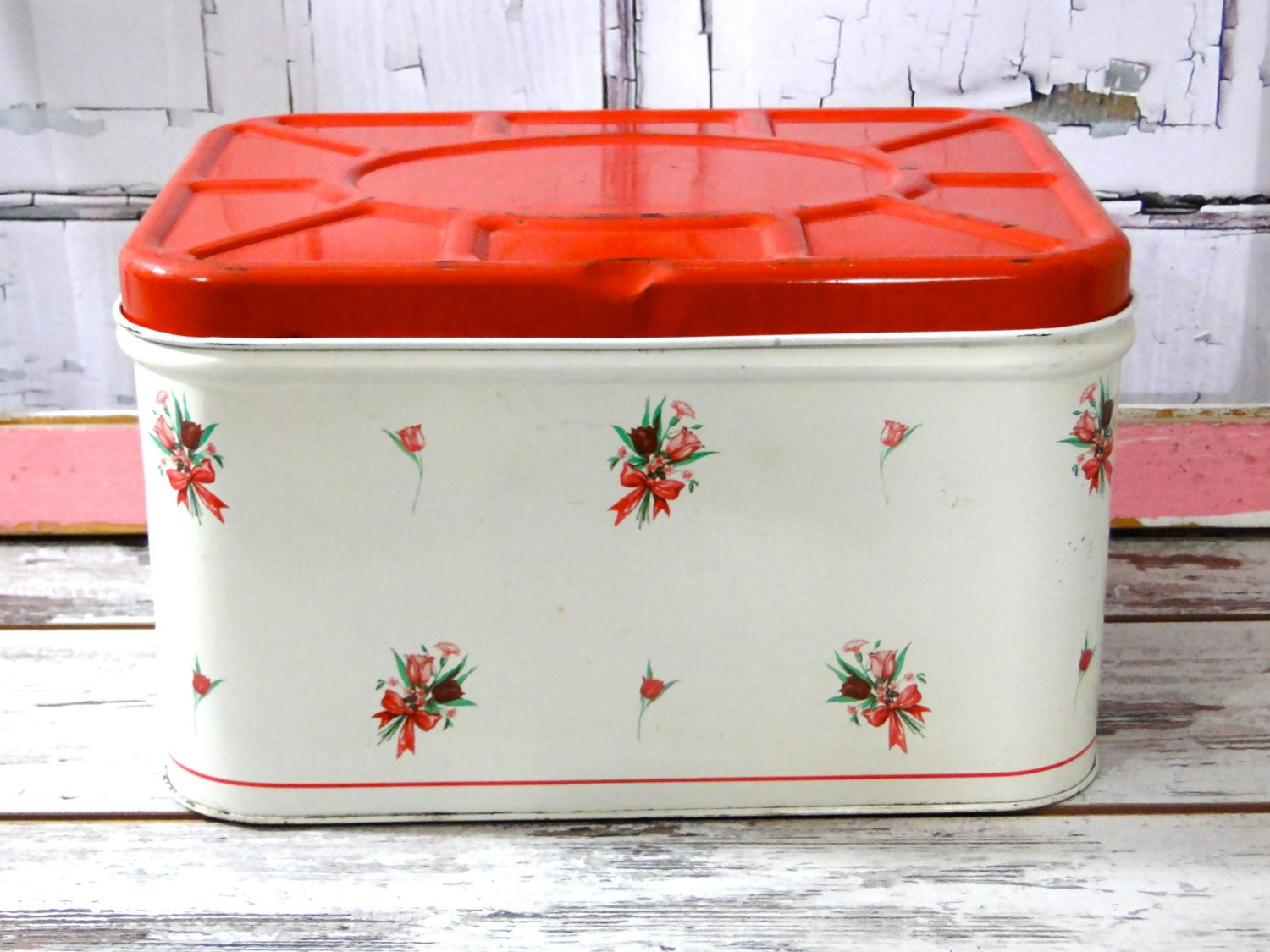 Metal Bread Box White Red Roses Ribbon Bows Decals