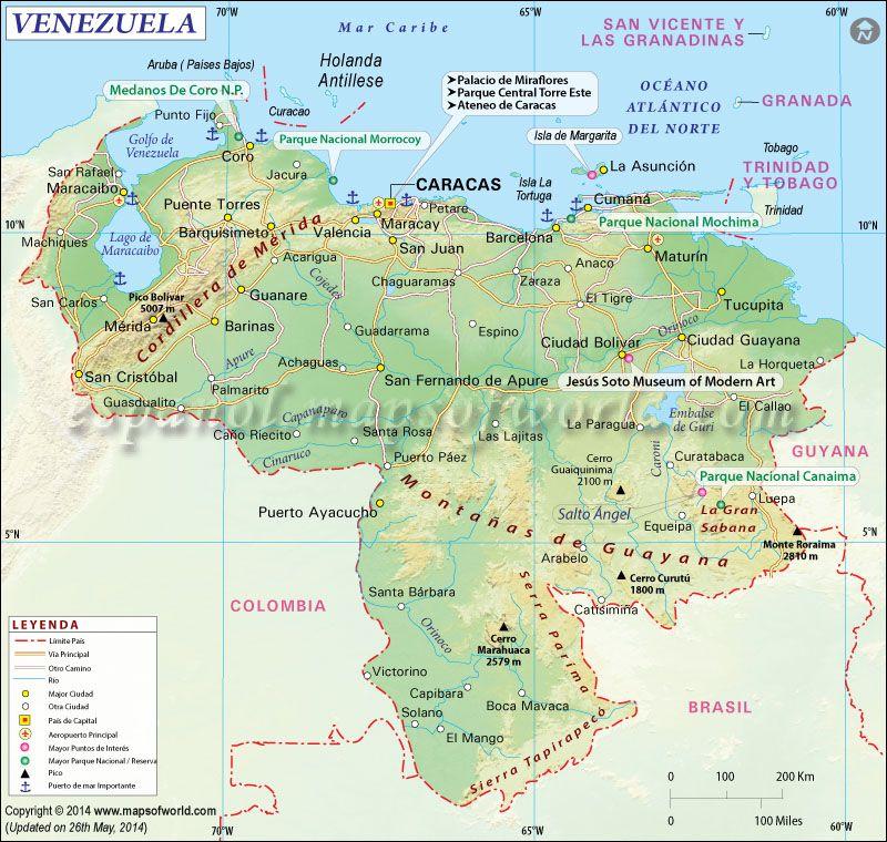 Mapa De Venezuela Venezuela - Map of venezuela world