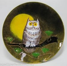 Mid Century Owl Enamel over Copper Plate artist signed Ratcliff nicely detailed