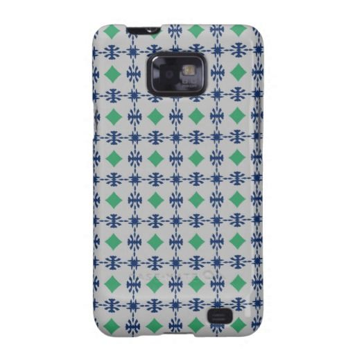 Declan's Boxers Case-Mate Samsung Galaxy S2 Barely There Case. Masculine print in navy blue, green, and grey.