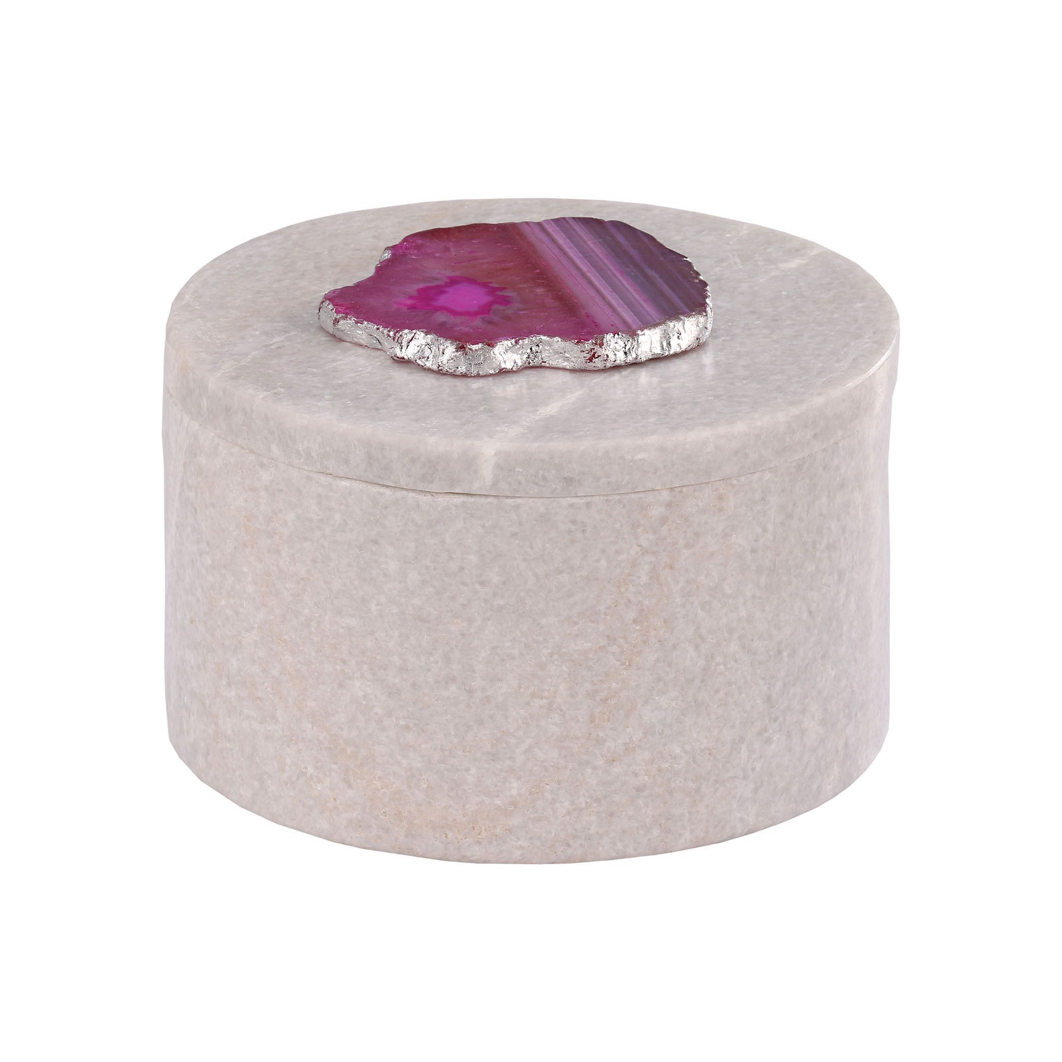 Dimond Home Antilles Round Box in and Pink Agate