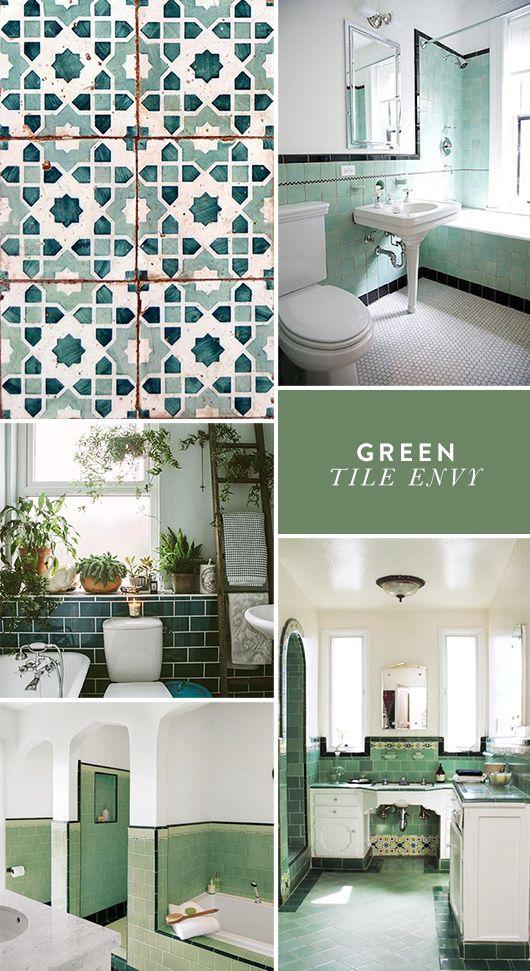 Green With Tile Envy Tiles Bathroom Floor Kitchen
