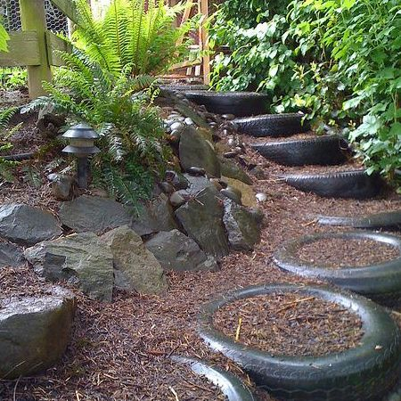 Ideas For Using Old Tyres Outdoors In The Garden For Steps | Garden On  Home Dzine | Pinterest | Tired, Gardens And Garden Ideas