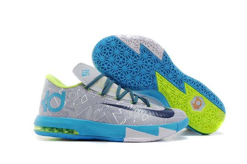 6e4696cfc8d4 Nike Zoom Kevin Durant KD 6 Pure Platinum Night Factor Vivid Blue Volt Mens  Sneakers