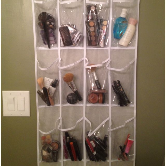 great way to organize your makeup use a over the door shoe organizer i used command hooks and. Black Bedroom Furniture Sets. Home Design Ideas