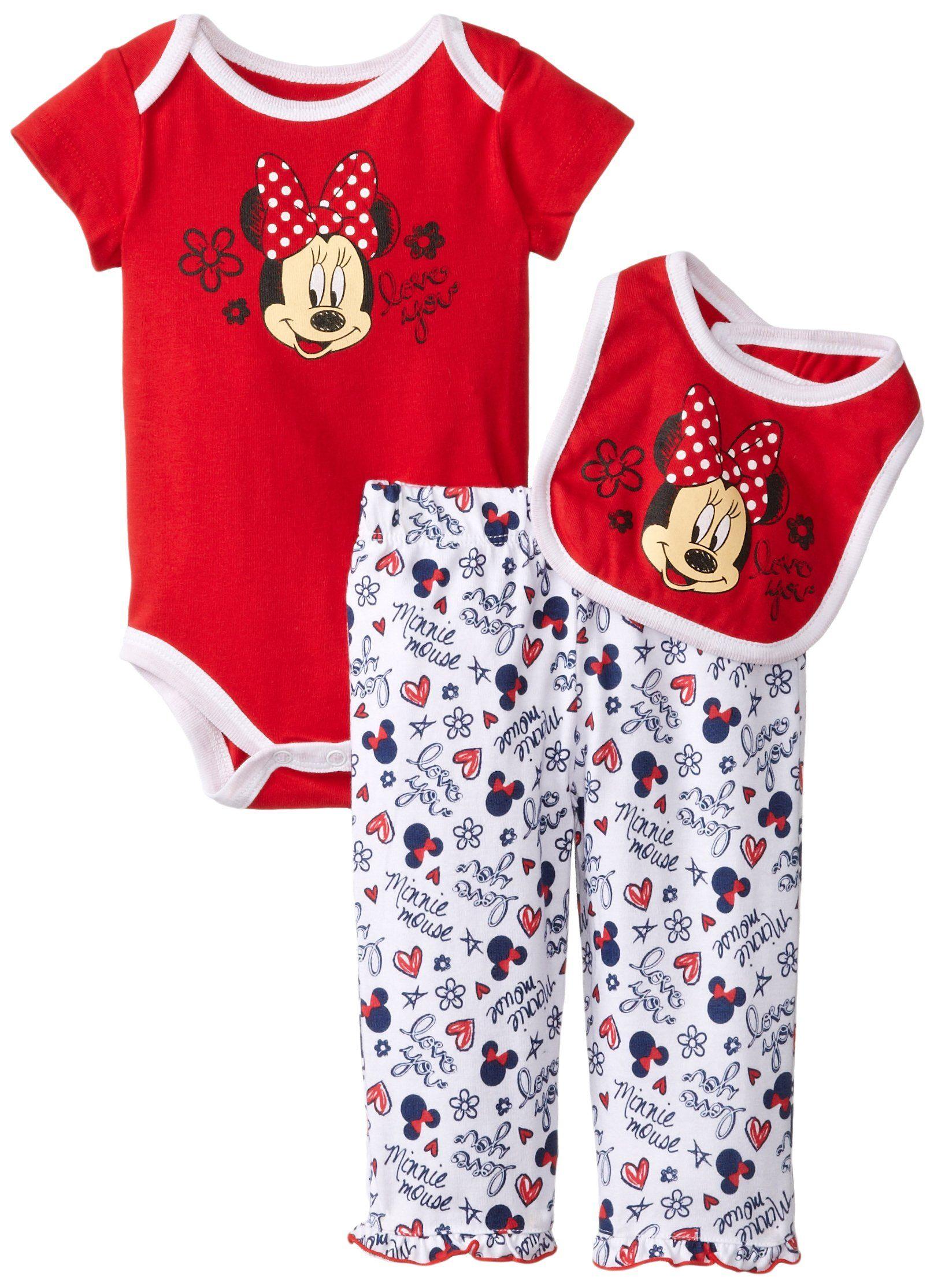 Disney Baby Girls Newborn Minnie Mouse 3 Pieced Print Bib Set