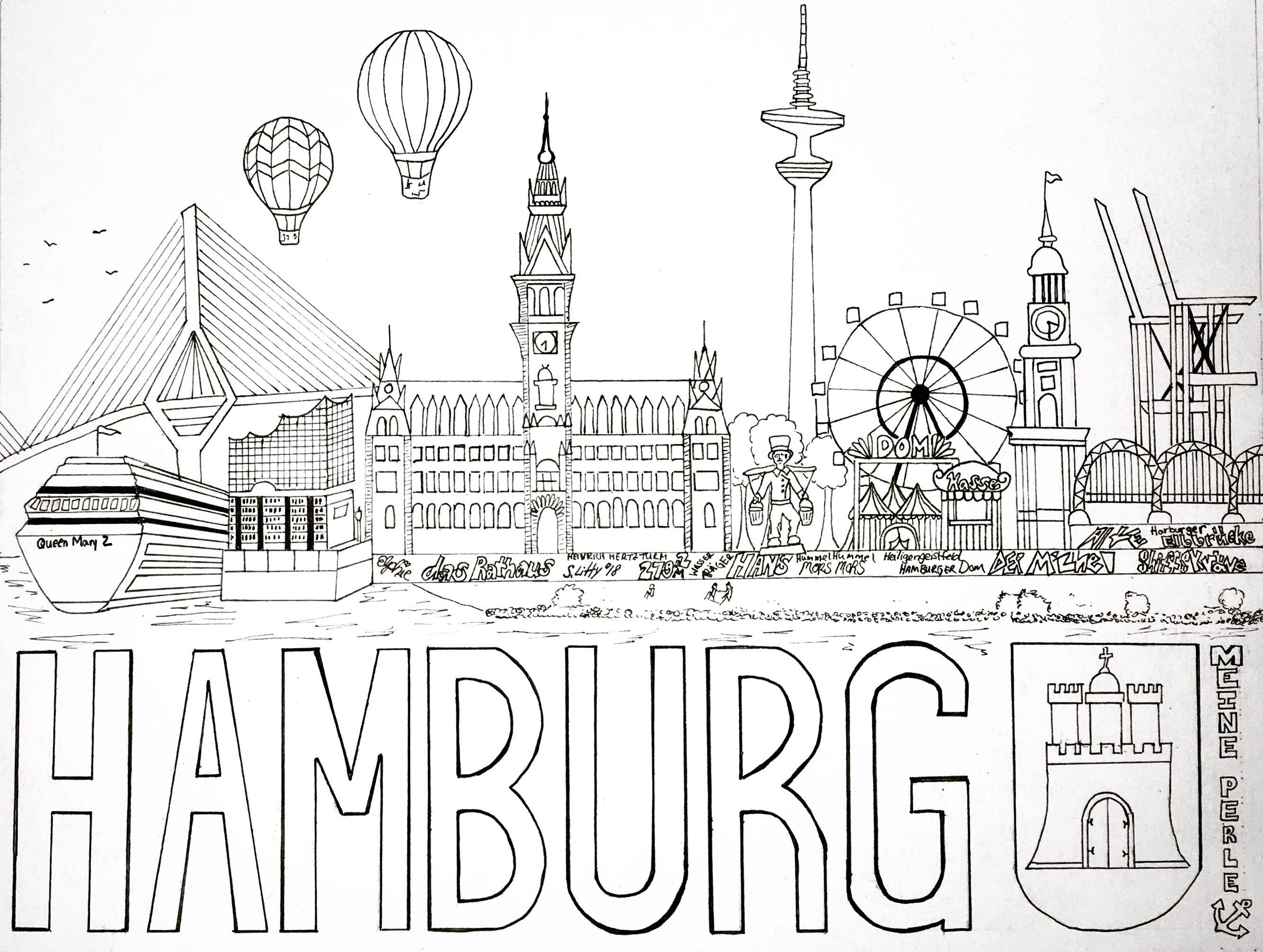 Hamburg Coloring Page Ausmalbild Ausmalbild Ausmalen Bilder