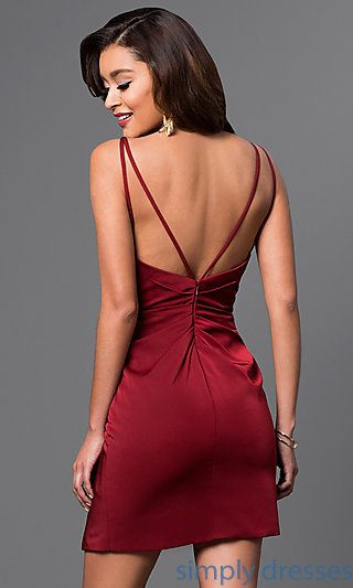 V Neck Backless Faviana Short Party Dress All About Dressing