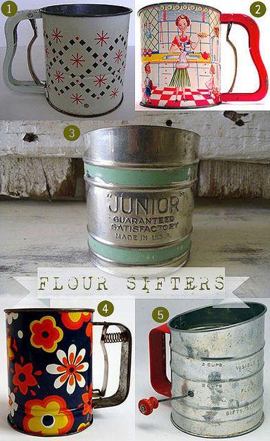 Vintage flour sifters cuisine vintage objet du Objet cuisine retro