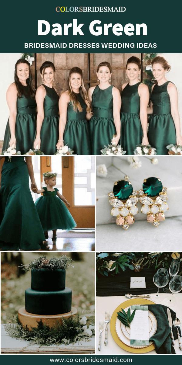 Dark Green Bridesmaid Dresses In Bateau Neckline Good With Dark Green Wedding Cakes Tab Dark Green Bridesmaid Dress Green Bridesmaid Dresses Green Bridesmaid