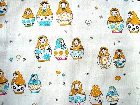 This is really cute russian dolls / matryoshka fabric! There are many cute russian dolls, mushroom and flowers on natural color.  It measures 50cm x 100cm or 19.7inch x 39.4inch.  The edges are unfinished. It is a linen cotton blend.