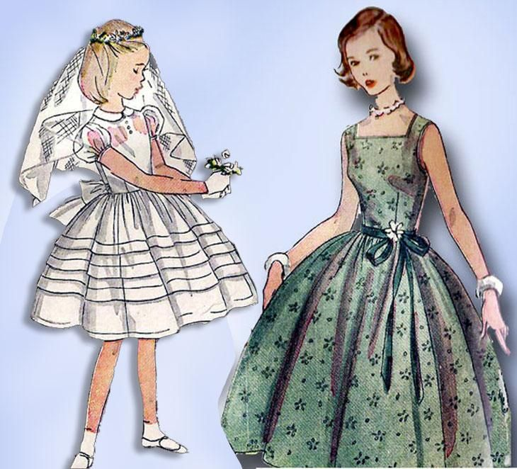 1950s Vintage Simplicity Sewing Pattern 4275 Little Girls Confirmation Dress 14 #confirmationdresses