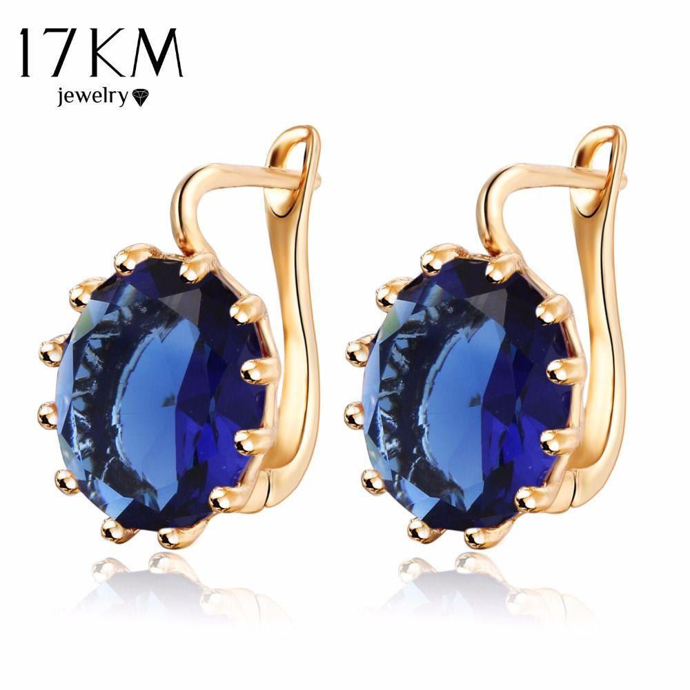 17 KM 4 Colores Steampunk Oro Color Azul Flor de Cristal Stud Pendientes de la Mujer Gótica Pendiente de La Boda Amor Declaración bijoux